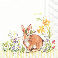 Lovely Bunny Yellow Cocktail Napkin
