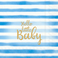 Hello Little Baby Light Blue Cocktail Napkin