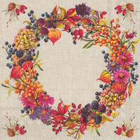 Autumn Wreath Linen Cocktail Napkin