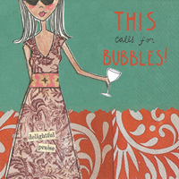 Curly Girl - Calls for Bubbles Cocktail Napkin