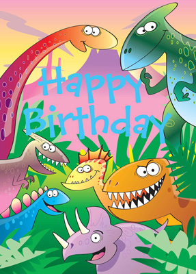 Cardooo Birthday Activity Card Dinosaurs