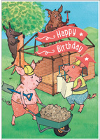 Cardooo Birthday Fairy Story Card The 3 Little Pigs