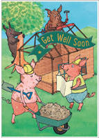 Cardooo Get Well Card The 3 Little Pigs