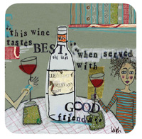 Curly Girl Wine Cork Coaster