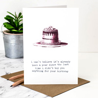 Coulson Macleod Birthday Cake Red Greeting Card