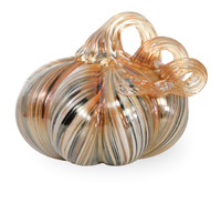 Gallery Glass Pumpkins - Small Glass Pumpkin - Neutral Ribbon