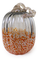 Tall Grey & Orange Glass Pumpkin