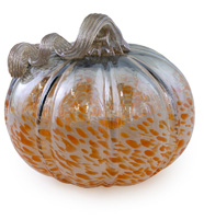 Short Grey & Orange Glass Pumpkin