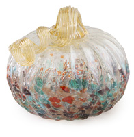 Small Mottled Glass Pumpkin