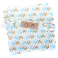 Eat Drink Host Blue & Gold Chevron Grub Paper