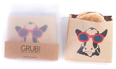 Eat Drink Host Cow with Sunglasses Grub Pouches