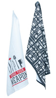 Eat Drink Host Choose Your Weapon Tea Towels