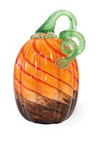 Brown & Orange Tall Glass Pumpkin