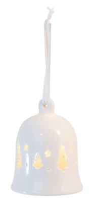 Alabaster Trees LED Bell Ornament