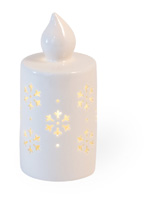 Alabaster Snowflake LED Candle