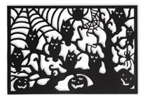 Black & White Fright Black Owl Tree Placemat