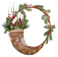 Rustic Christmas Evergreen Berries Horn Wreath