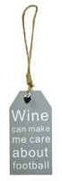 Wine Bottle Tag Wine & Football Gray