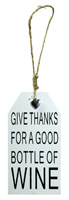 Wine Bottle Tag Give Thanks for Wine White