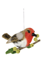 Bird Ginger with Green Berries Ornament