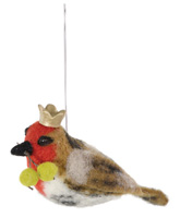 Bird King George with Green Berries Ornament