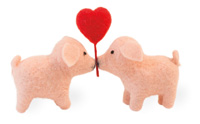TRUE LOVE   PIG STYLE   2 PIGS & A HEART