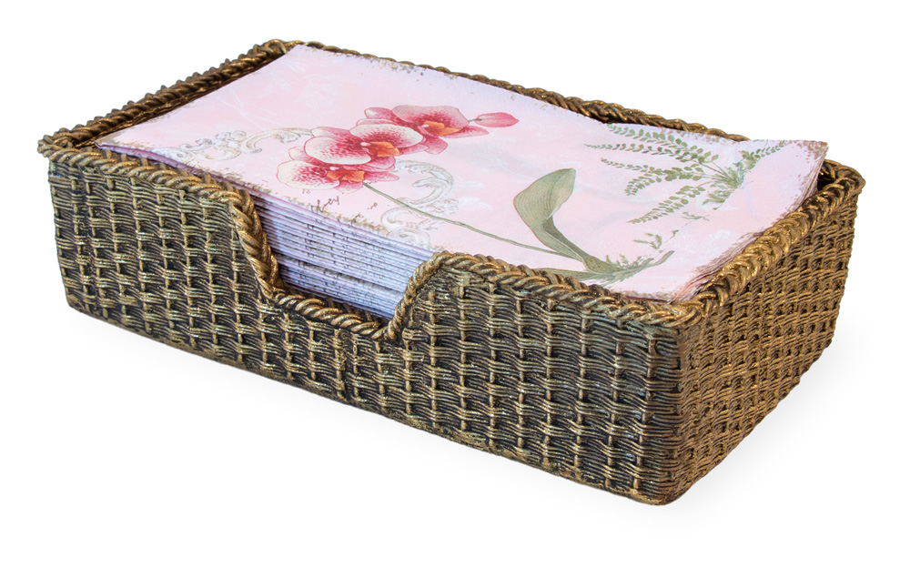 Basket Weave Guest Caddy Gold