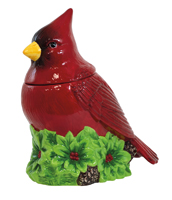 Yuletide Cardinal Cookie Jar