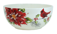 Yuletide Poinsettia & Cardinal Large Bowl