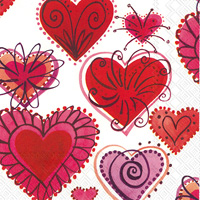 Fireworks Hearts Lunch Napkin