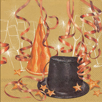 Midnight Party Gold Lunch Napkin