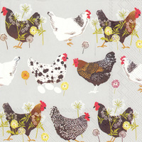 Spatter Hens Grey Lunch Napkin