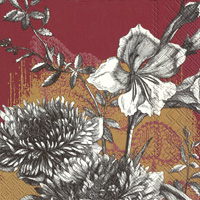 Fleur Gold Red Lunch Napkin