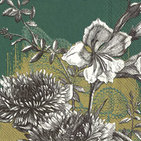 Fleur Gold Green Lunch Napkin