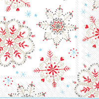 Winter Crystals White Red Lunch Napkin
