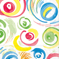 Happy Circles White Lunch Napkin