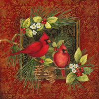 Botanical Christmas Birds Lunch Napkin