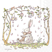 Blossoms and Bunnies White Lunch Napkin