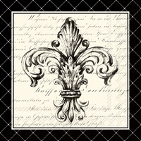 French Fleur de Lis Cream Black Lunch Napkin