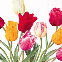 Tulips White Lunch Napkin