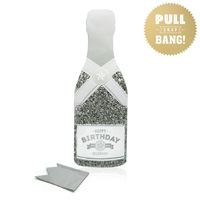 My Design Co. Champagne Cracker Card Happy Birthday Silver Glitter