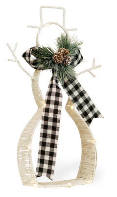 Buffalo Plaid Scarf LED Snowman