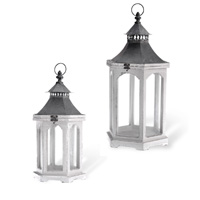 Distressed Wooden Lantern Set