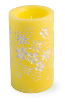 Yellow Floral LED Candle