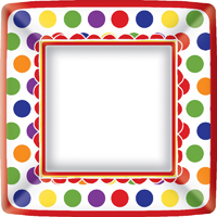 Birthday Party Fun Square Paper Dinner Plate