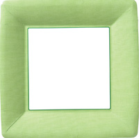 Classic Linen Green Square Paper Dinner Plate