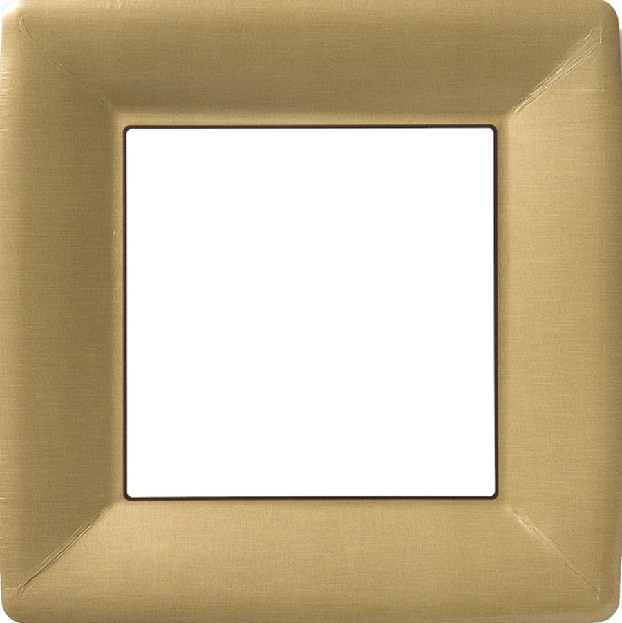 & Classic Linen Gold Square Paper Dinner Plate
