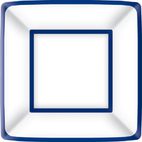 Classic Square Dinner Plate blue white