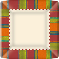 Habanera Red Square Paper Dinner Plate