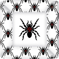 Rosanne Beck - Black Spiders Square Paper Dinner Plate